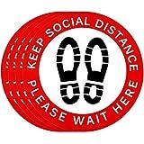 36 Pezzi Adesivi a Distanza Sociale del Pavimento Decalcomania, 8 Pollici Adesivo per Cartello da Pavimento Keeping Distance per Drogheria, Supermercato, Banca, Laboratorio
