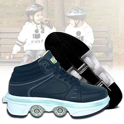 GGOODD Zapatos con Ruedas De Deformación,Automática de Skate Zapatillas con Ruedas,Zapatos Invisible De Polea LED Light Up,Unisex Aire Libre y Deporte Gimnasia Running Zapatillas,35