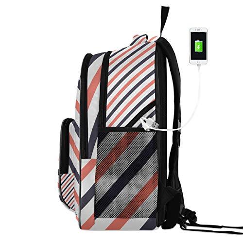 FANTAZIO - Mochila para portátil de viaje, diseño de estrellas y rayas Blas con puerto de carga USB, se adapta a portátiles de 15,6 pulgadas