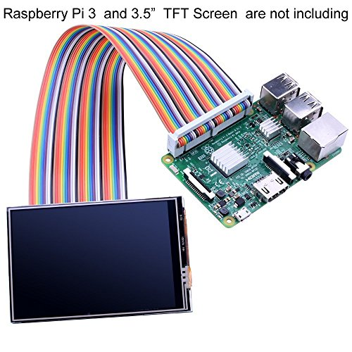 "Kuman Breadboard Jumper Wires 40pin maschio-femmina Ribbon GPIO Cable per Connection Raspberry Pi 3 2 Model B B+ w/ 3.5"" 5 inch Touch TFT Screen schermo LCD display K70"