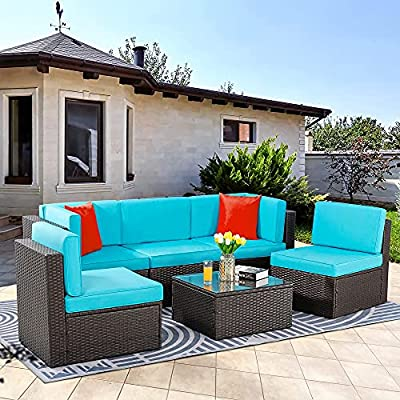 Vongrasig 6 Piece Small Patio Furniture Sets, Outdoor Sectional Sofa All Weather PE Wicker Patio Sofa Couch Garden Backyard Conversation Set with Glass Table,Blue Cushions and Red Pillows (Blue)