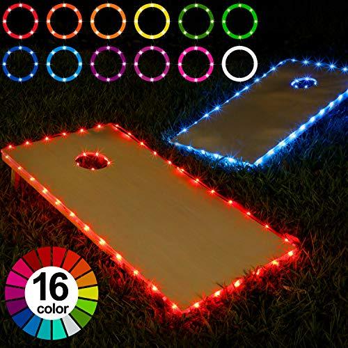 Frienda Cornhole Lights, 16 Colors Change Cornhole Board Edge and Ring LED Lights with Remote Control for Family Backyard Bean Bag Toss Cornhole Game, 2 Set (4 × 2 ft)
