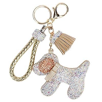 Fawziya Rhinestone Tassel Keychain With Dogs-Gold