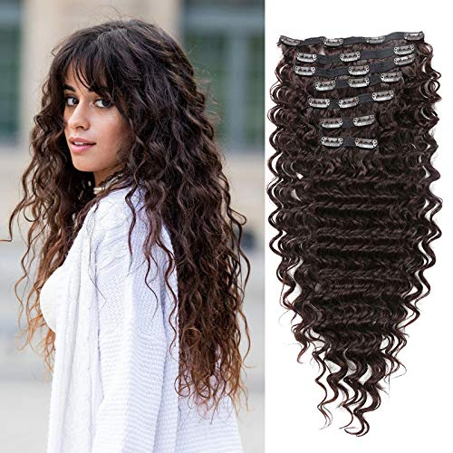 Clip in Hair Extensions Synthetic hair Clip in 140G 7Pcs/Lot Japanese Heat Resistant Fiber Hairpieces Deep Wave/ Body Wave/Straight hair (Deep Wave, Chocolate Brown 4#)