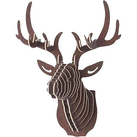 Deer Head Wandbehang Decor mmrm Holz Hirsch Kopf Elch Wand Art Home Decor zum Aufh/ängen beige