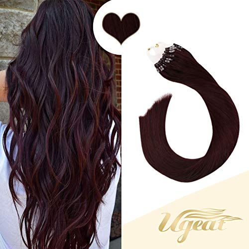Ugeat Micro Ring Beads Hair Extensions in Wine Red Color