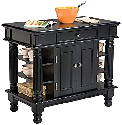 Americana Black Kitchen Island with Open Shelving by Home Styles from Home Styles