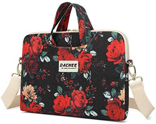 Dachee Red Rose Patten Waterproof Laptop Shoulder Messenger Bag Case Sleeve for 14 Inch 15 Inch Laptop Case Laptop Briefcase 15.6 Inch (15 inch/15.6 inch, Big Red Rose)