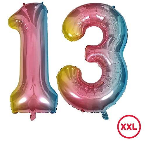 DIWULI, gigantische XXL Zahlen-Ballons, Zahl 13, Schillernde Regenbogen Luftballons, Zahlenluftballons, Folien-Luftballons Nummer Nr Jahre, Folien-Ballons für 13. Geburtstag, Party-Deko, Dekoration