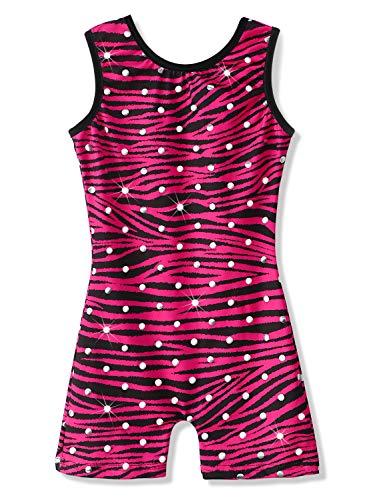 Turnanzug für Mädchen, Gymnastikbekleidung, glänzende Bänder, athletische Shorts, Tanz-Outfit - Schwarz - 120 Für 5-6 Jahre