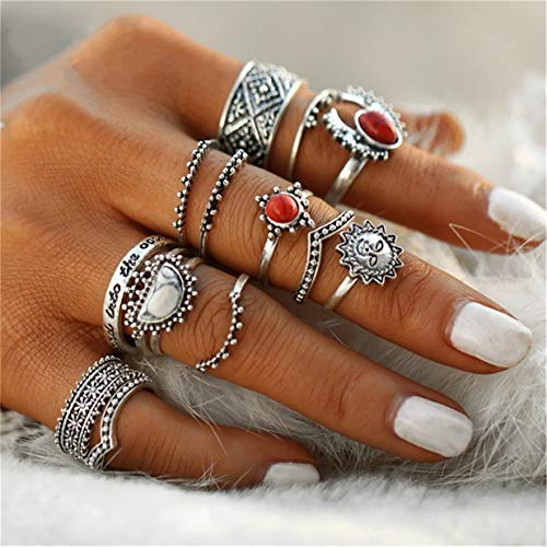 EJY 14pcs Vintage Silver Boho Joint Knuckle Rings Set Midi Rings Jewelry Gift for Women Girls