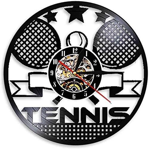 WTTA Reloj de Pared de Vinilo, Tiempo de Tenis, Raqueta de Tenis, Arte Cruzado, decoración de Sala de Deportes, Regalo de Tenis sin Plomo Retro