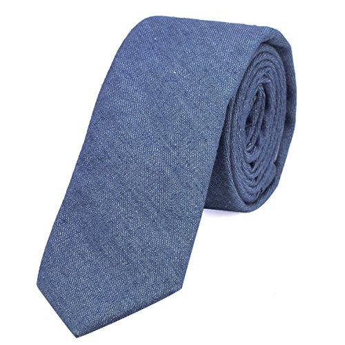 DonDon cravatta stretta da uomo 6 cm effetto jeans cotone - blu brillante