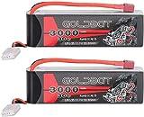 GOLDBAT Batería RC 3000 mAh 11,1 V 3S 30C Paquete de baterías LiPo con Conector Dean T Extra XT60 para Coche RC, Barco, camión, quadcopte, Modelo de avión, Edificio FPV, Drone Apex, etc (2 Pack)