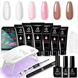 Beetles Poly Extension Gel Nail Kit, Clear Nail Builder Gel Pink Nude Poly Nail Enhancement Trial All-in-One French Kit with Mini Nail Lamp for Nail Art Starter Kit Best Valentines Day gifts