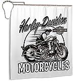 Harley Davidson Shower Curtain Duschvorhang Standard wasserdichte Badezimmer Vorhang Dekoration 168x183cm 10L?Cher+12Haken