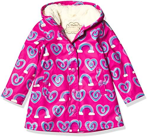 Hatley Mädchen Jacket Sherpa gefütterte Splash Jacke, Twisty Rainbow Hearts, 8 Years