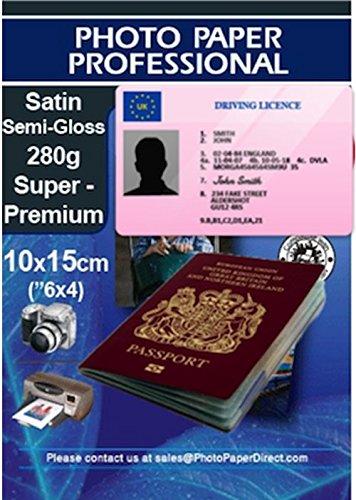 PPD Inkjet 280 g/m2 Fotopapier Seidenmatt Ideal für Reisepass- und Ausweisfotos 10x15cm x 10 Stück PPD067-10