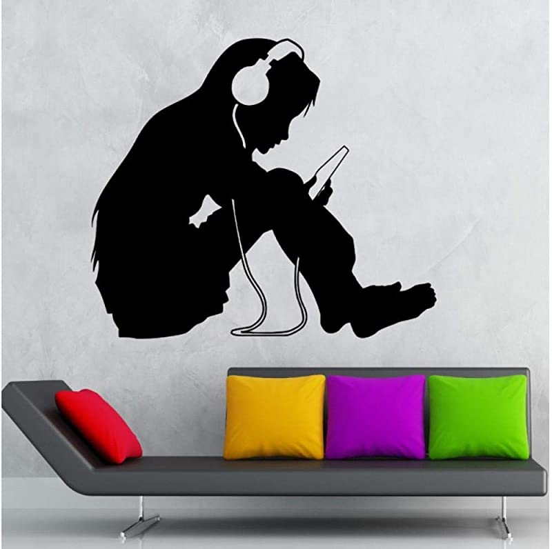 Wsydd Wall Sticker Vinyl Decal Teen Girl Wall Stickers Headphones Music Kids Room Nursery Vinyl Decal Home Decoration 56x88cm