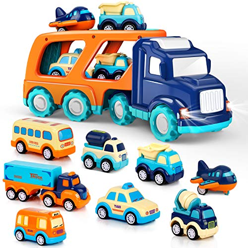 9 Pack Cars Toys for 1 2 3 4 5 Years Old Toddlers Boys and Girls Gift Big Transport Truck with 8 Small Cute Pull Back Trucks Colorful Assorted Vehicles Playset Carrier Truck with Sound and Light