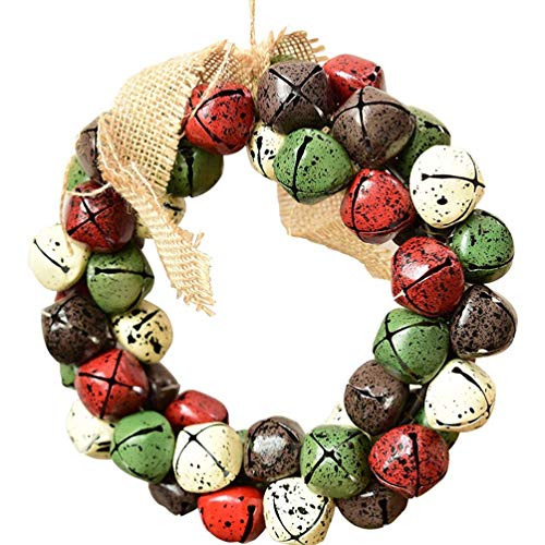 Springisso kerstversiering krans, metalen bel krans voor voordeur krans voor kerst thuis of bruiloft partij decoraties 20 cm (7.87inch)