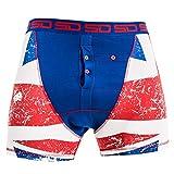 Smuggling Duds Men's Stash Boxer Brief Shorts - Pickpocket Proof Travel Secret Pocket Underwear Union Jack Large