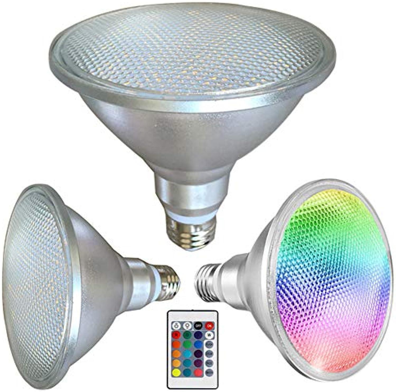 LE-PAR38 LED-Flutlichtbirne für den Auenbereich, 20 W, RGB, 1500 LM, IP65, E27, Flutlicht, 50.000 Stunden Lebensdauer, 16 Farbwechsel mit IR-Fernbedienung, E27, 20.0W 265.0V