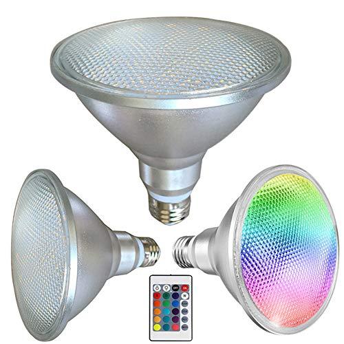 Foco LED de inundación al aire libre, LE-PAR38 20 W RGB 1500 LM, IP65 E27 Floodlights, 50.000 horas de vida útil, 16 colores cambiantes con control remoto IR