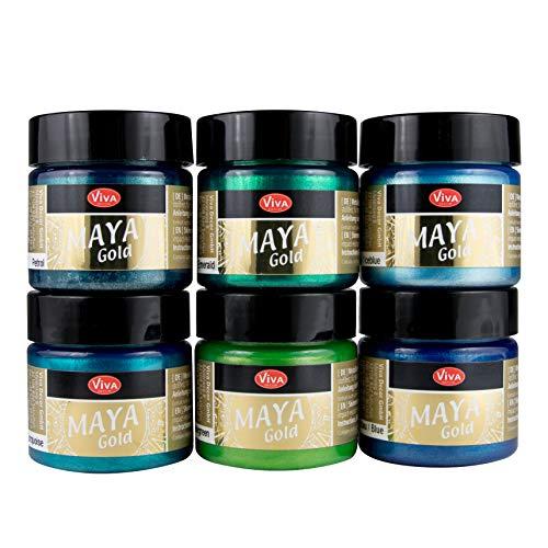 LM-Kreativ Maya Gold 6er Set von Viva Decor (Forest), Metallic Metall-Glanz, Effekt-Farbe Bastel-Farbe, Deko-Farbe metallisch glänzend, 6 x 45 ml