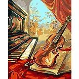TTZJY Pintura por Números para Adultos y Niños DIY Pintura al óleo Kit ,con 3 Pinceles y Pinturas Acrilicas Decoraciones para el Hogar 16x20 Pulgadas/40x50cm (Sin Marco) Sonido de la Musica