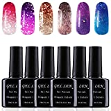 Gellen Gel Nail Polish Set 6 Colors, UV Gel Temperature Color Changing Gel - Pretty Glitters Collection Home Manicure Nail Art Gel Kit