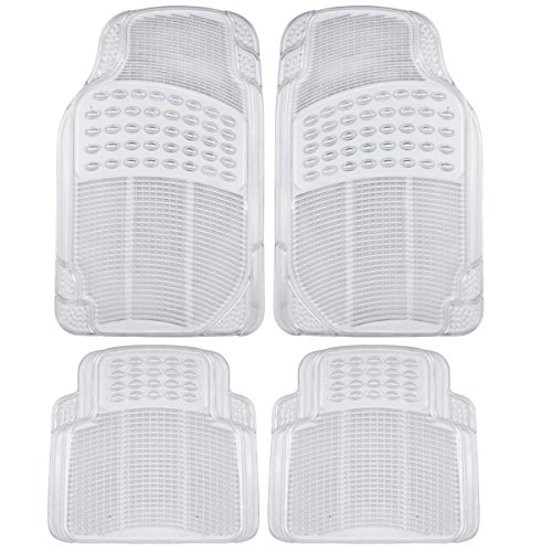 BDK Universal Fit 4-Piece Heavy Duty All Weather Protection Floor Mat - Rubber (Clear) (MT-654-CL)