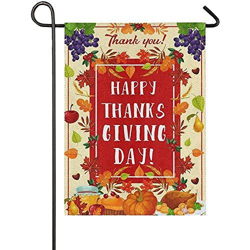 Yard Banner Thanksgiving Garden Vlag dubbelzijdig Turkije Cornucopia pompoen bessen Apple taart esdoorn siroop huis Yard vlaggen geven dank Boerderij Rustieke Outdoor Banner Voor Feest Thuis Herfst D