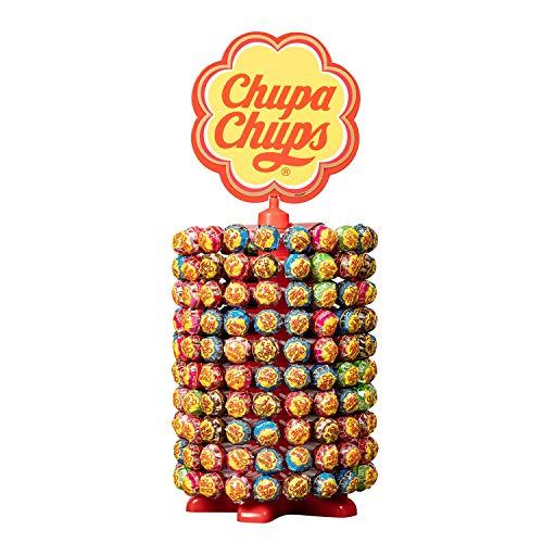 Chupa Chups - Roue de 200 Sucettes - Sucettes à la Pulpe de Fruit + Sucettes Cola et Milky - Présentoir Original Collector des Boulangeries - Roue Chupa Chups 2,4 Kg