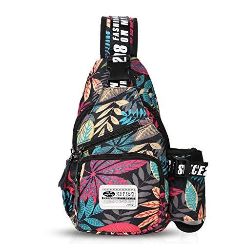 FANDARE Unisex Brusttasche,Messenger Bag Schultertasche für Damen und Herren, Crossbody Bag,zum Sport, Reisen und Joggen, Wasserdicht Polyester Rot