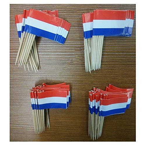 50st Holland tandenstoker Vlaggen, Nederland Voedsel Picks Cake Tandenstokers, Cupcake Fruit cocktailprikkers Decoration tandenstoker Vlag