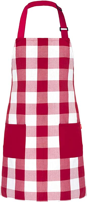 ALIPOBO Chef Bib Apron For Men Women Kitchen Cooking Apron With 2 Pockets 40 Long Ties And Adjustable Neck Strap 32 X 28 Red White