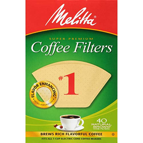 Melitta #1 Cone Coffee Filters, Natural Brown, 40 Count