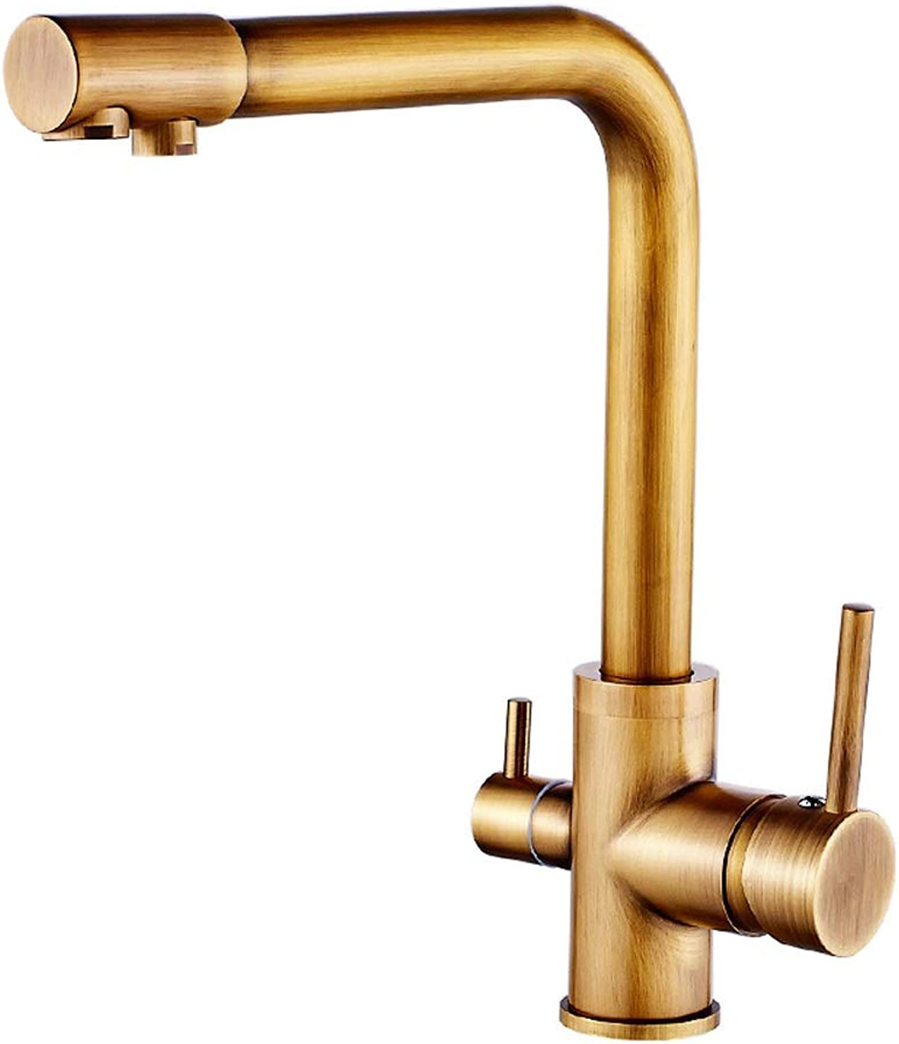 AXWT All Bronze High End Taps Antique Copper Dual Use Double Open Pure Water Purifier Water-tap Double Head Kitchen Faucet Sink Vegetable Pot Hot And Cold Mixed Water 360°