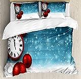 ABAKUHAUS Reloj Funda Nórdica, Las Bolas de Año Nuevo de la Vendimia, Decorativo 3 Piezas con 2 Fundas de Almohada, 230 x 220 cm - 70 x 50 cm, Rojo y Azul