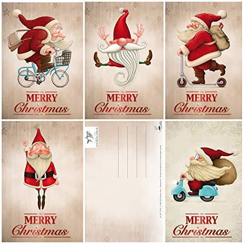 Set di 15 divertenti cartoline di Natale con Babbo Natale, 5 motivi x 3 = 15 cartoline di auguri in formato A 6 (14,8 x 10,5 cm), in stile retrò / vintage di Edition Colibri (11051-55)