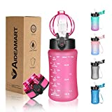 Kids Water Bottle with Straw,12 oz Toddler BPA Free Water Bottle with Motivational Time Marker Leakproof Tritan Drinking...