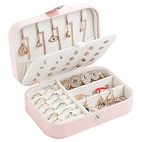 Piyu - Joyero pequeño con 2 capas para guardar pendientes, collar y organizador de joyas de doble capa para mujer, regalo de niña (rosa)