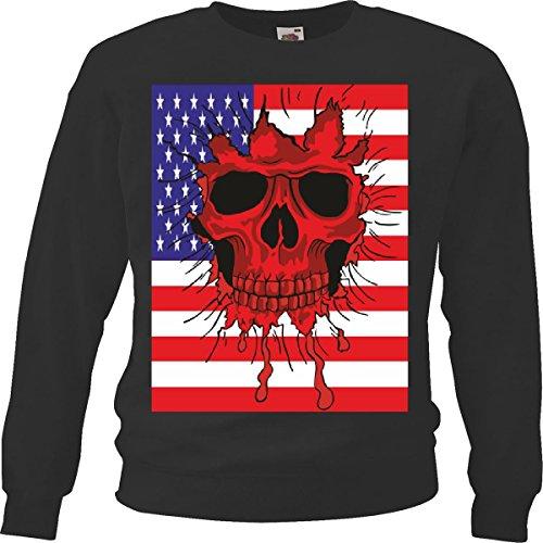 Sweatshirts Amerika schedel USA Indicator Skull Biker Route wip motorkleding Chopper 66 in zwart