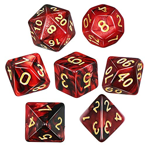 QMay DND Dice Set -D&D Polyhedral Dice (7 Pcs ) for Dungeons and Dragons