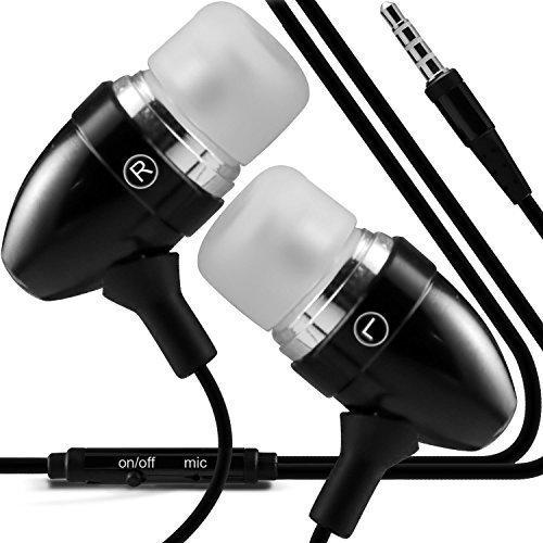 N4U ONLINE Premium Qualität ALU im Ohr Ohrhörer Stereo Freisprechanlage Kopfhörer Ohrhörer mit eingebauter Mikrofon & AN-AUS Knopf für verschiedene Handys & Tablet - Schwarz (Samsung Galaxy S5)