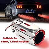 2.5'' Inlet Exhaust Tips Stainless Steel Muffler Car Exhaust Tail Pipe Modification Luminous Tube With Red Flame LED light 89mm(3.5in) Outlet