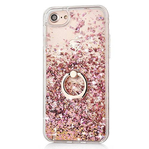iPhone 7 Case Crystal Clear Quicksand Liquid - JAZ Finger Ring Stand Ultra Thin Soft Transparent Plastic Floating Luxury Bling Glitter Sparkle Diamond Case for iPhone 7 /iphone 8 (Diamond Pink)