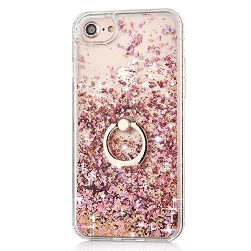 JAZ iPhone 7 Plus Case Quicksand Liquid - Ring Kickstand Ultra Thin Soft TPU Bumper Transparent Case Floating Bling Glitter Sparkle Diamond Case for 5.5' iPhone 8 Plus/ 7Plus Diamond Pink