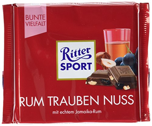 Ritter Sport Rum- Trauben-Nuss, 6er Pack (6 x 100 g)